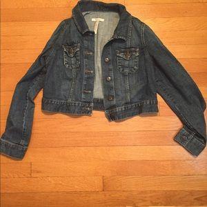Maternity Jean jacket cropped size small EUC